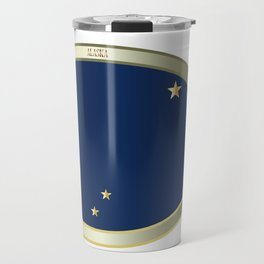 Alaska State Flag Oval Button Travel Mug