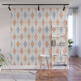 Modern Distressed Geometric Diamond Pattern Line Art in Muted Desert Oranges and Blues Wall Mural