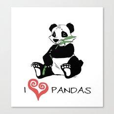 I Love Pandas Design Canvas Print