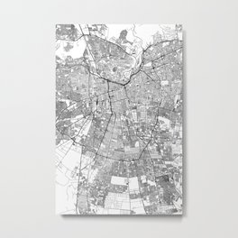 Santiago White Map Metal Print