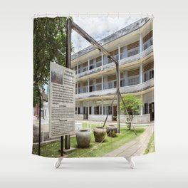 S21 The Gallows - Khmer Rouge, Cambodia Shower Curtain