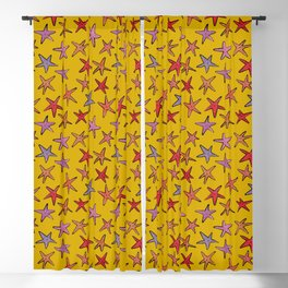 Starfishes in mustard background Blackout Curtain