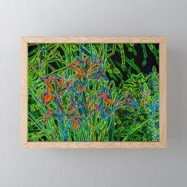Neon Garden Flowers Framed Mini Art Print