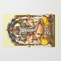 ganesha Area & Throw Rugs featuring Ganesha by Pirates of Brooklyn