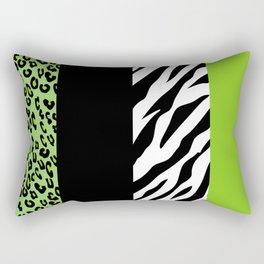Animal Print, Zebra Stripes, Leopard Spots - Green Rectangular Pillow
