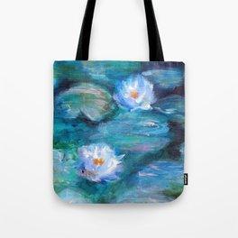 Blue Water Lilies Tote Bag
