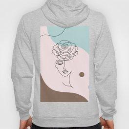 Floral Wall Art, Boho Printable Line Art, Crazy Plant Lady, Woman With Flowers, Bohemian Decor Hoody