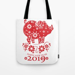 The Happy New Year 2019 New Year's Eve 2019 Gift T-Shirt 2019 Pig Face Year Of The Pig Design Januar Tote Bag
