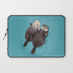 Otterly Romantic - Otters Holding Hands Laptop Sleeve