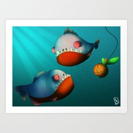 Hungry Piranhas Art Print