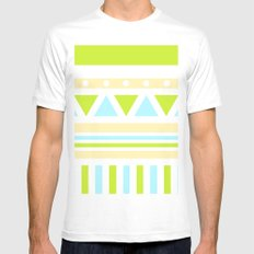 Aztec Patch; Green.  White Mens Fitted Tee MEDIUM