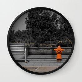 Metal Bench and Orange Fire Hydrant Near Street Wall Clock