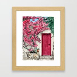Little Pink Door surrounded by a Pink Bougainvillea Framed Art Print
