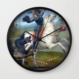 """Raffaello Sanzio da Urbino """"Saint George and the Dragon"""", 1503 - 1505 Wall Clock"""