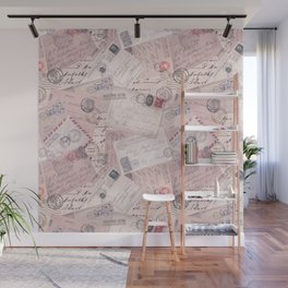 Nostalgic Letter and Postcard Collage Soft Pink Wall Mural