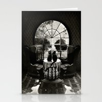 skull Stationery Cards featuring Room Skull B&W by Ali GULEC