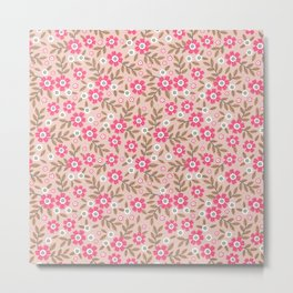 Pretty floral pattern. Pink flowers. Metal Print