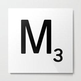 Letter M - Custom Scrabble Letter Tile Art - Scrabble M Initial Metal Print