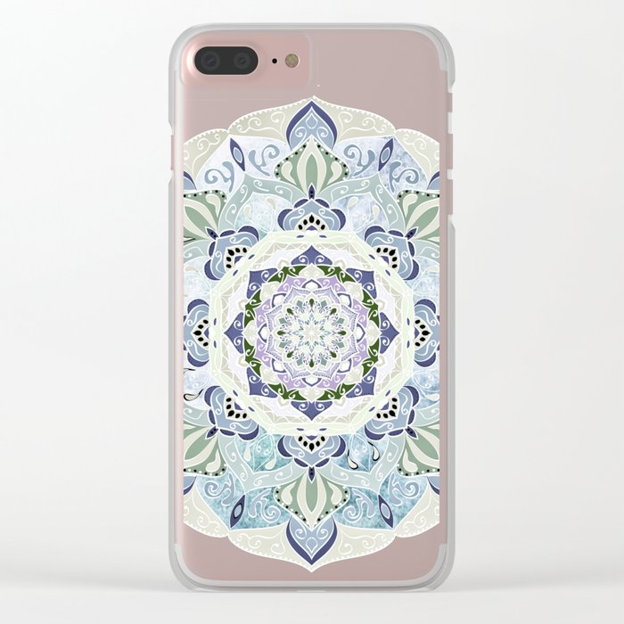 BLUE YERA MANDALA Clear iPhone Case