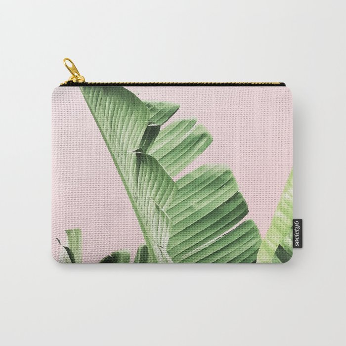 Banana Leaf on pink Carry-All Pouch