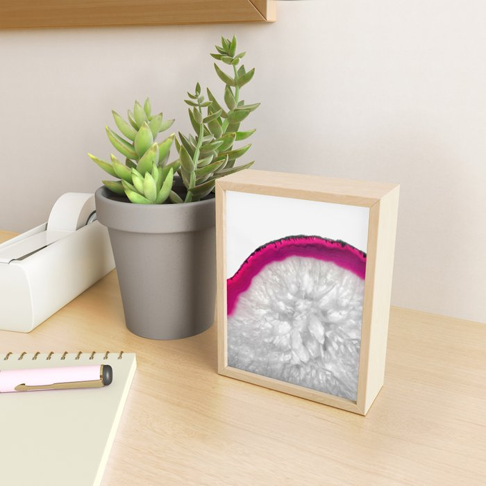 Pink Crystal Agate Framed Mini Art Print