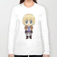 shingeki no kyojin Long Sleeve T-shirts featuring Shingeki no Kyojin - Chibi Armin Flats by Tenki Incorporated