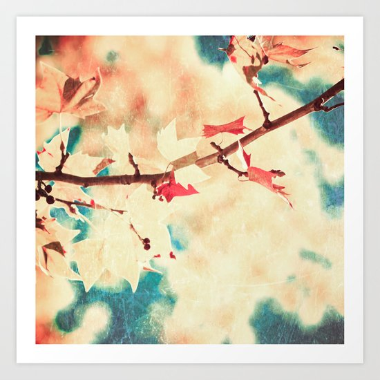 Autumn (Leafs in a textured and abstract sky) Art Print