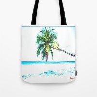 cuba Tote Bags featuring Cuba , Playa  ( Cuba , beach ) by arnedayan
