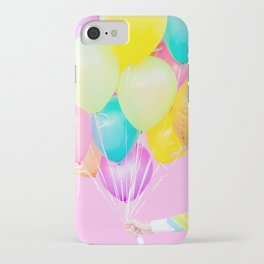 Handheld Balloons on Pink (Close-Up) iPhone Case