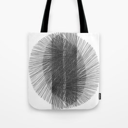 Mid Century Modern Geometric Abstract Black & White Radiating Lines Tote Bag