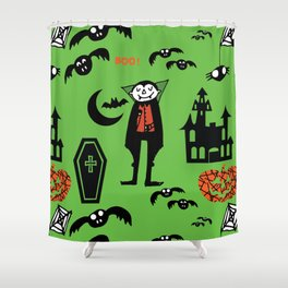 Cute Dracula and friends green #halloween Shower Curtain