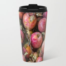 Pile of freshly picked organic farm apples with imperfections Travel Mug