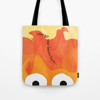 calcifer Tote Bags featuring Calcifer's Curse by HSuits