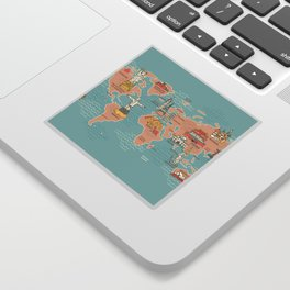 Cute World map cartoon style Sticker