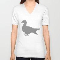 pigeon V-neck T-shirts featuring Pigeon by Giorgio Smiroldo - giorgiosmiroldo.com