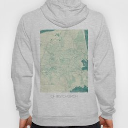 Christchurch Map Blue Vintage Hoody