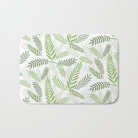 GREEN LEAVES ON WHITE Bath Mat