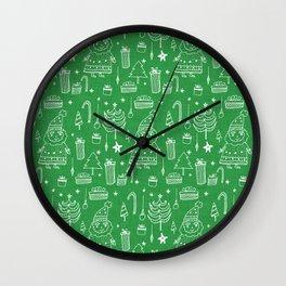 Santa Workshop Green Wall Clock