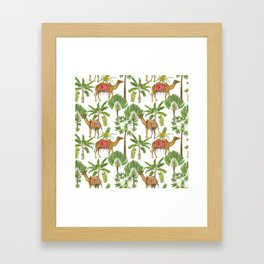 Camels and palms Framed Art Print