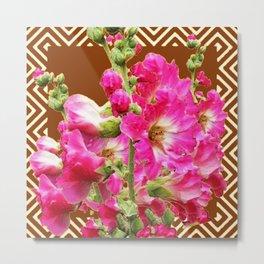 Coffee Brown Fuchsia Pink Holly Hocks Pattern Flora Art Metal Print