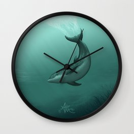 """Siren of the Lagoon"" by Amber Marine ~ Indian River Lagoon Bottlenose Dolphin Art, (Copyright 2015) Wall Clock"