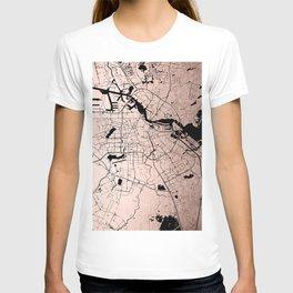 Amsterdam Rosegold on Black Street Map T-shirt