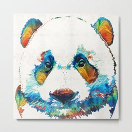 Colorful Panda Bear Art By Sharon Cummings Metal Print