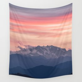 Pink And Blue Pastel Mountains Sky Landscape Sunrise Landscape Wall Tapestry