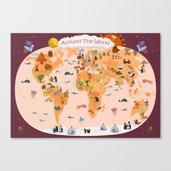 Worldwide map for kids. Canvas Print