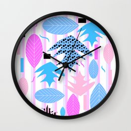 Leaf mix in pink and blue Wall Clock