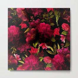 Vintage & Shabby Chic - Dark Red Antique Night Roses Botanical Garden Metal Print