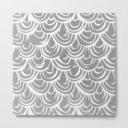 monochrome scallop scales Metal Print