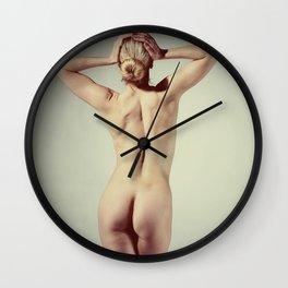 Very Beautiful nude woman posing ballet look Wall Clock