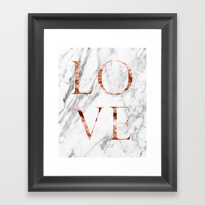 Rose Gold Marble Love Framed Art Print By Marbleco Society6